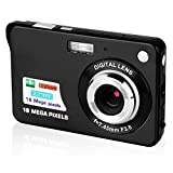 CamKing Digitalkamera, 2,7 Zoll TFT LCD HD Mini Digitale Kompaktkameras, 18 MP HD Zoom Videokamera für Rucksacktouren, Erwachsene/Senioren/Kinder(Schwarz)