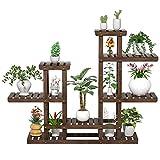 Yaheetech Pflanzenregal Holz, Blumenregal Outdoor, Blumentreppe 6 Ebenen, Pflanzentreppe mehrstöckig Holzregal 120,5x25x96,5 cm, Blumenständer für Garten Wohnzimmer Balkon Innen